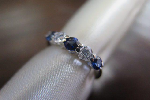ブルーサファイア3石 ダイヤモンド2石 一文字 Pt900 リング #11