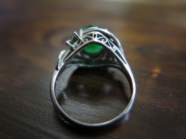 色むらのある翡翠 ダイヤモンド Pt850 リング #11