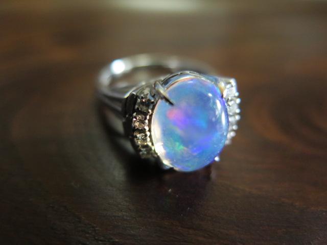 ウォーターオパール3.16 ダイヤモンド Pt900リング