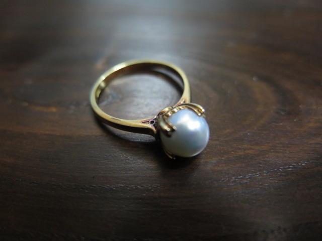 グレー系 アコヤ真珠 芯なし リング