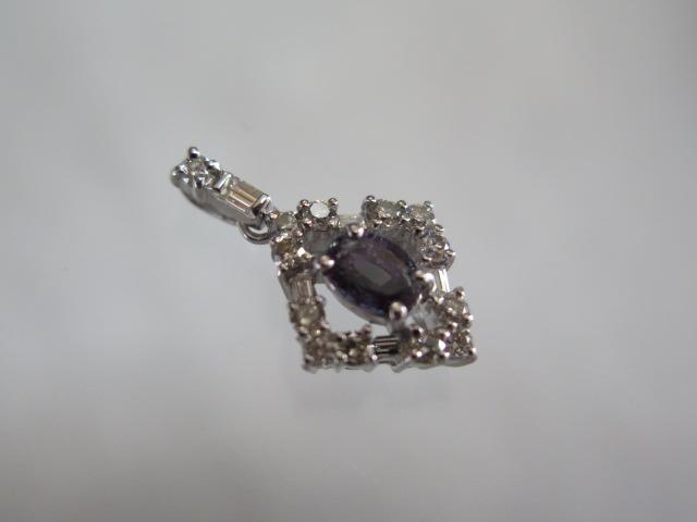 アレキサンドライト0.65ct ダイヤモンド ペンダント Pt900 中古