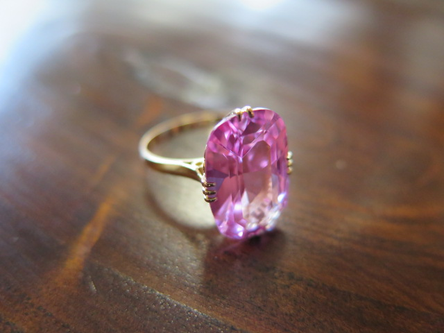 ピンク合成石 王冠透かし リング