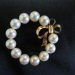 真珠 リボン ブローチ K14