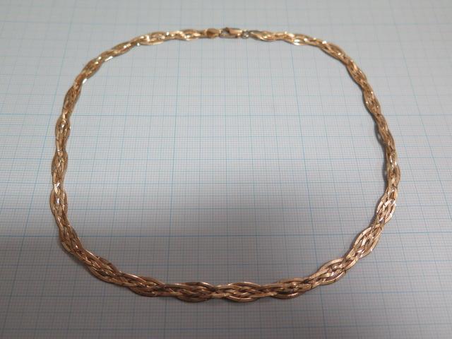 750 10.3g 4つ編み ネックレス 40cm イタリア製 中古