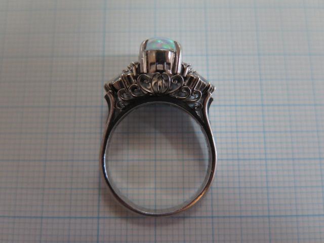 ウォーターオパール1.43 ダイヤモンド 陽刻Pt850 リング #15 昭和ジュエリー 手作り 中古