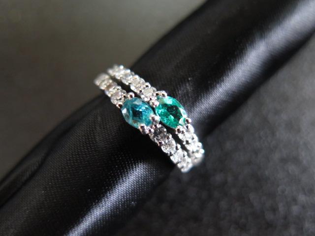 パライバトルマリン2石(ブラジル産) ダイヤモンド Pt900 リング #13.5 中古 /7084