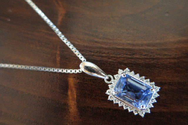 ブルーサファイア2.20 ダイヤモンド0.29 ペンダント付 ネックレスPt900/Pt850 41.5cm /8372 中古