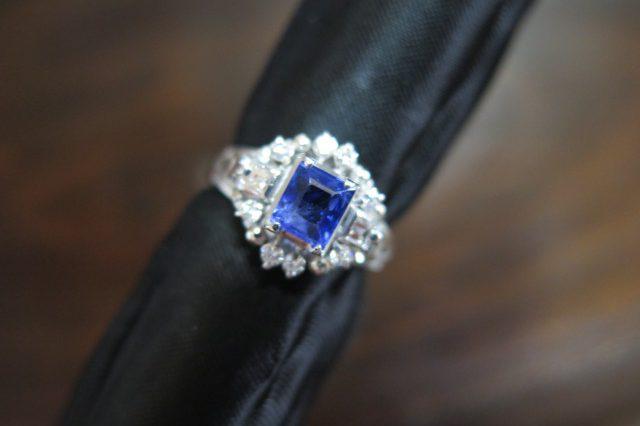 ブルーサファイア ダイヤモンド Pt900 リング #7 /8388