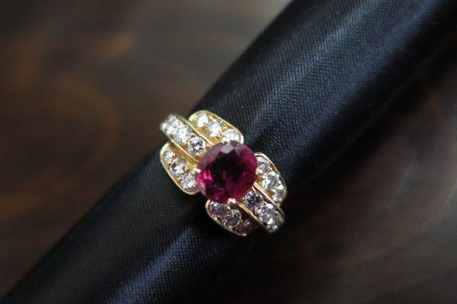 モーブッサン MAUBOUSSIN ルビー&ダイヤモンド 750 リング #9.5