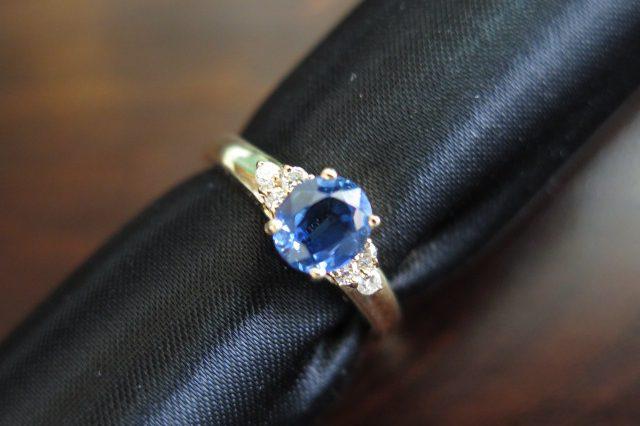サファイア ダイヤモンド K18 リング #11 中古 /8571