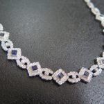 角サファイア シングルカットダイヤモンド多用 750 ネックレス チョーカー 35cm 中古 /8803