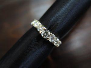 ダイヤモンド5石 緩やかなV字 リング K18 手作り 中古 #15 /8856