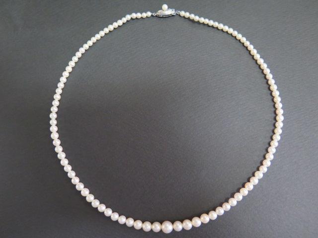 アコヤ真珠 6.9mm~3.5mm グラデーション ネックレス 45㎝ 和彫りクラスプ /8921