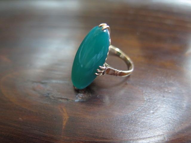 カルセドニー(緑) 王冠透かし リング K18 #12.5 /8965