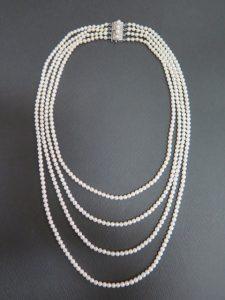 アコヤ真珠 ベビーパール 4連 ネックレス 和彫りクラスプ /9087