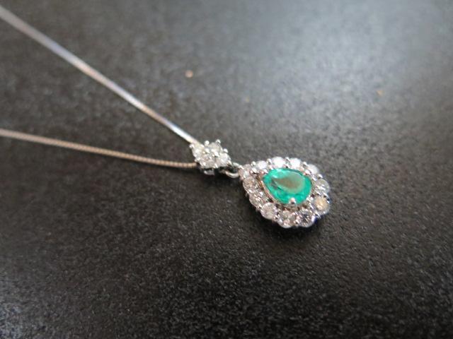 エメラルド ダイヤモンド ペンダント ネックレス スライド~44.5㎝ 中古