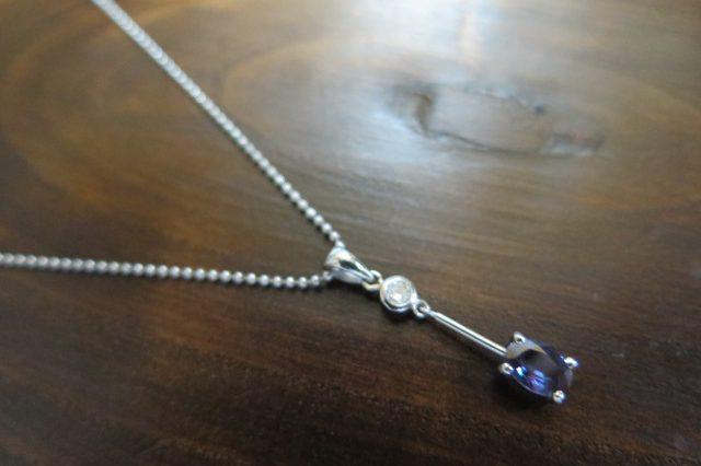 アレキサンドライト0.43 ダイヤモンド Pt ネックレス 40cm