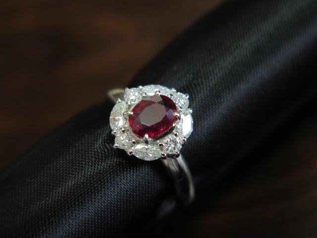 ルビー0.765 ダイヤモンド0.54 Pt900 リング #12.2 /9407