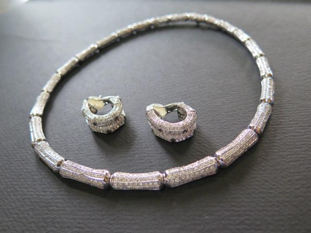 K18WG(刻印K18) パヴェダイヤモンド ネックレス&ピアス 竹モチーフ? /9601
