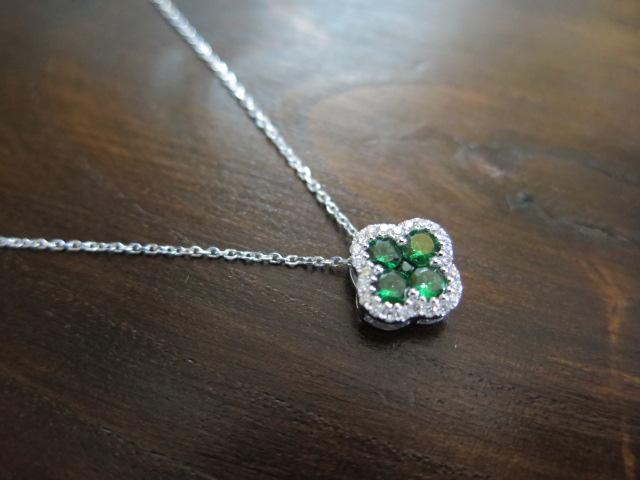 グリーンガーネット ダイヤモンド ペンダント ネックレス
