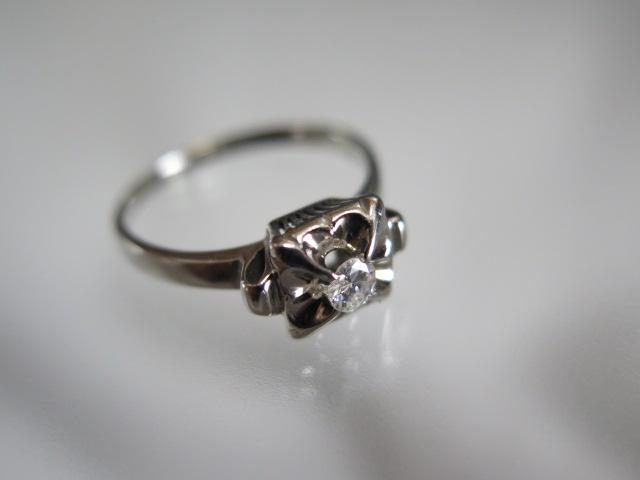 ダイヤモンド 千本透かし リング K14WG