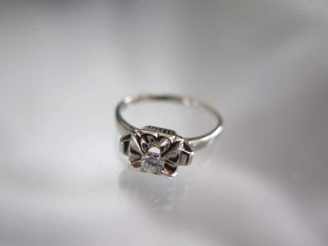 ダイヤモンド 0.15 千本透かし K14WG リング #12 /8405