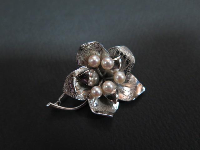 銀製 お花のブローチ SILVER 中古 昭和 /10056