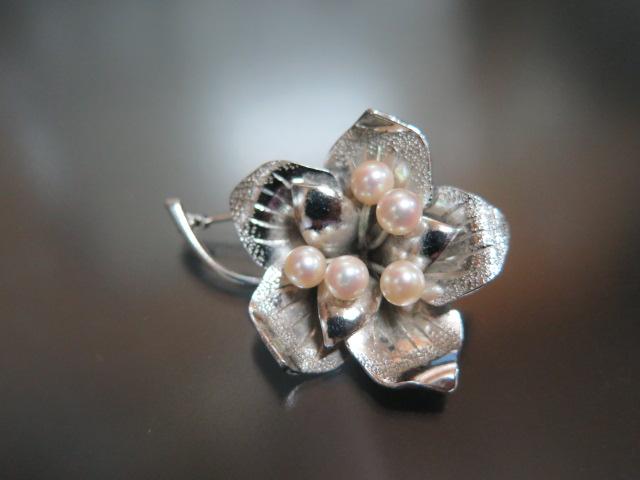 銀製 ベビーパール お花のブローチ SILVER 中古 昭和 /10056