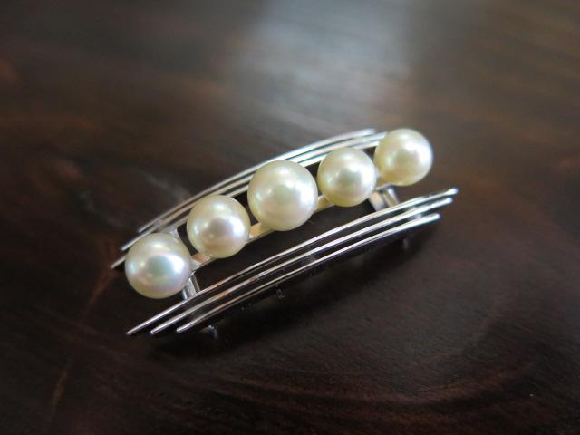 銀製 真珠の帯留 中古 昭和 /10240
