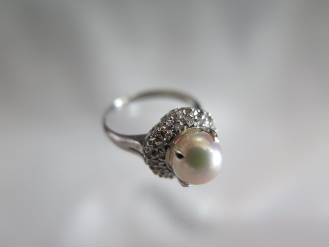 アコヤ真珠 シングルカットダイヤモンド 取巻き Pt900 リング #9.5 中古 /10434