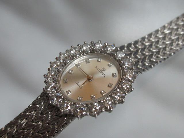 ウォルサム ベゼル ダイヤモンド取巻き 750 時計 レディース 中古 /11277