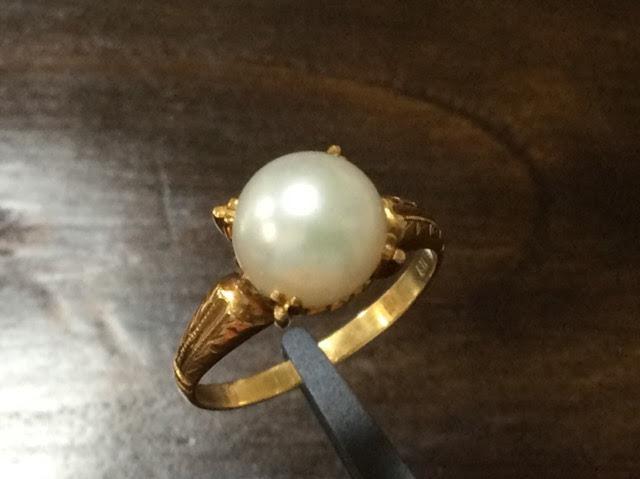 あこや真珠8.1mm 和彫り K18 リング #10 /15781